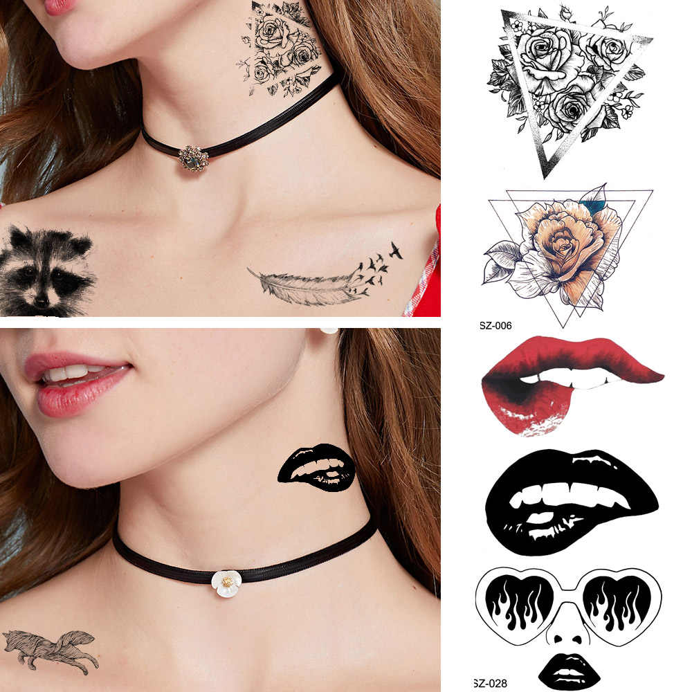 Actriz Porno Tatuaje Gato Estrellas Espalda calcomanías de tatuaje de gato mapache lindo para mujer tatuaje de chica  temporal de pluma de tribu negra tatuaje de chica geométrico rosa  impermeable