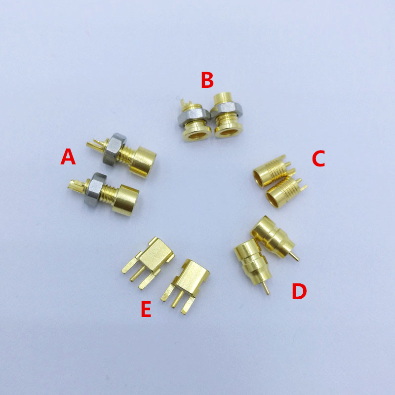 2 pcs custom made universal pin Socket female socket mmcx Pure copper gold plated Built-in hreaded nut holder(China)