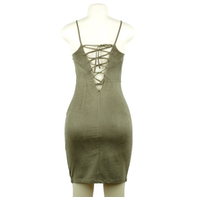 2018 Women Summer Dress Tunic Slip Dresses Female Bandage Dress Autumn Suede Sundress Green Red Robes Office Sexy Lace up School
