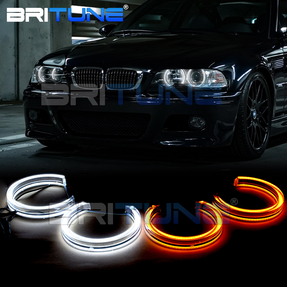 Britune DRL Angel Eyes Ring LED Crystal DTM Style 3D Switchback Halo Lights 131 146mm For