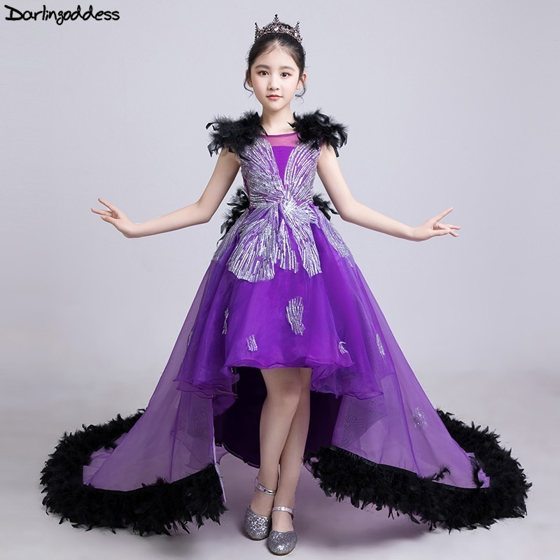 Luxury Short Front Long Back   Flower     Girl     Dresses   for Weddings Purple Ball Gown Pegeant   Dresses   for   Girls   Kids Prom Gown 2019