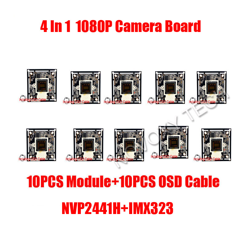 DIY 4 IN 1 AHD TVI CVI CVBS 10PCS/LOT 2MP 1080P IMX323 CMOS+2441H DSP CCTV PCB Board With OSD Cable Camera Module Free Shipping ahd 2 0megapixel cctv camera module pcb low illumination 0 001lux osd cable dc12v cvbs 2000tvl 3d noise reduction