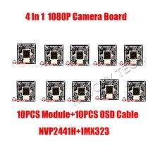DIY 4 IN 1 AHD TVI CVI CVBS 10PCS/LOT 2MP 1080P IMX323 CMOS+2441H DSP CCTV PCB Board With OSD Cable Camera Module Free Shipping