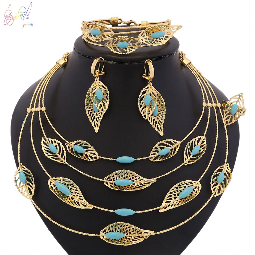YULAILI Fashion African Beads Jewelry Set Exquisite Dubai Pure Gold Color Accessories Nigerian Wedding Bridal Bijoux