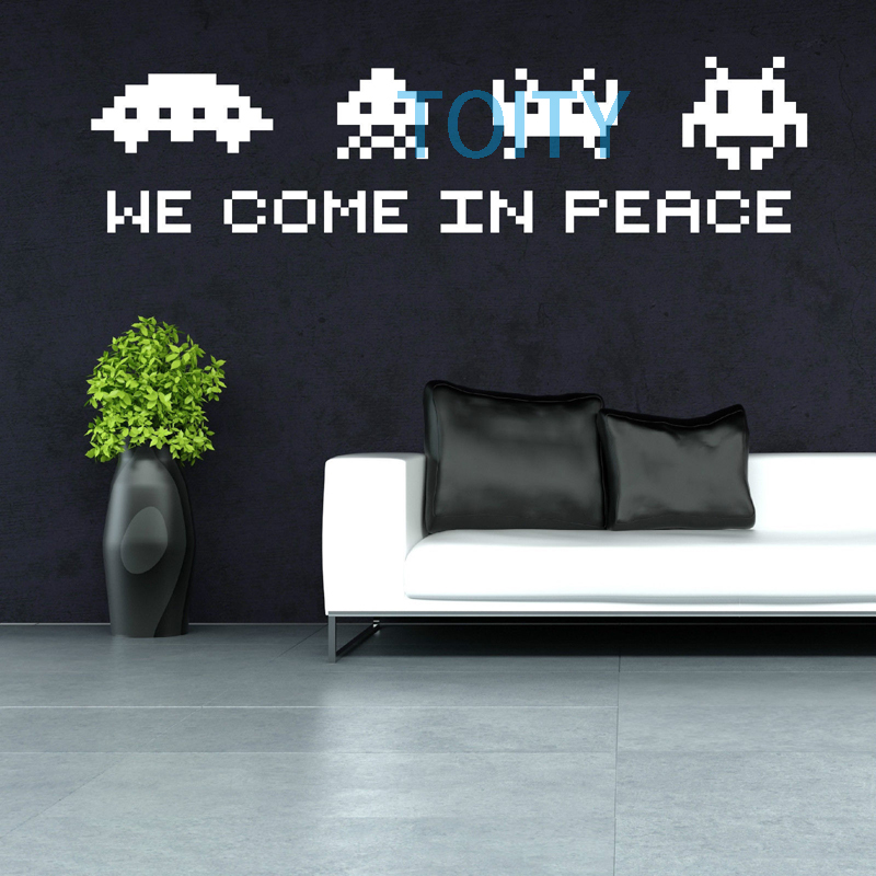 SPACE INVADERS we come in peace Vinyl Wall Sticker Alien Mural Decal Decor Art M L