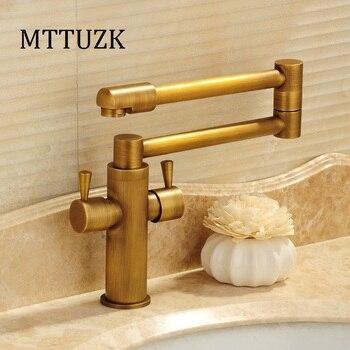 MTTUZK Gold/Antique Kitchen Folding Faucet 360 Degree Rotating Vegetable Bowl Faucet hot&cold Tap Deck Mounted Dual Handle tap