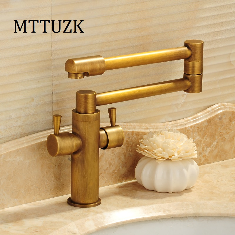 MTTUZK or/Antique cuisine robinet pliant 360 degrés rotatif bol à légumes robinet chaud et froid pont monté double poignée robinet