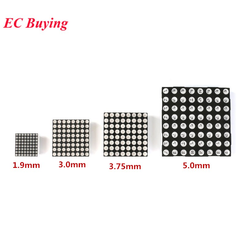 5Pcs 8x8 Dot Matrix Red Display Module Digital Tube Common Anode 1.9mm 3.0mm 3mm 3.75mm 5.0mm 5mm