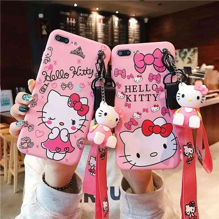 3D Cute Hello Kitty Ear Case for Huawei honor mate P 30 20 10 9 7 lite pro nova 4 3 Cartoon Doll Toy Wrist Strap Soft TPU Cover