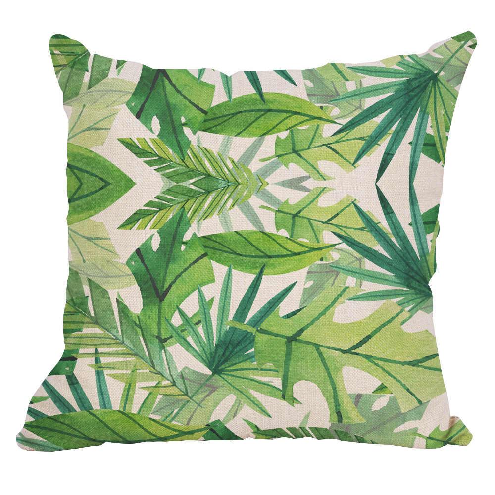 พืชเขตร้อนหมอนกรณีโพลีเอสเตอร์ตกแต่งปลอกหมอนสีเขียวใบโยนหมอน Case Cushion Cover สแควร์ 45*45 ซม.