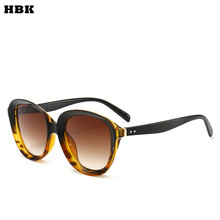 HBK 2018 new Sunglasses Brand Designer Flat Len New Sun Glasses Female Lady Eyeglass Leopard Cat Eye Clear Women Cateye