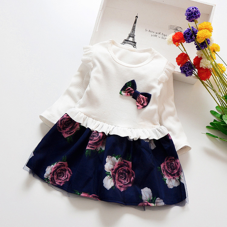 HTB1afvzXJfvK1RjSszhq6AcGFXaQ Spring Autumn Toddler Girl Dress Cotton Long Sleeve Toddler Dress Floral Bow Kids Dresses for Girls Fashion Girls Clothing