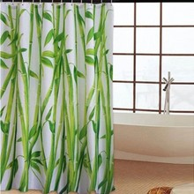 180x180cm Bamboo Waterproof Fabric Shower Curtain Bathroom Products Creative Polyester Bath Curtain cortina de bano with12 Hooks
