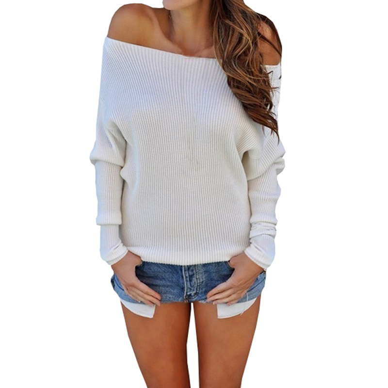 Sexy Long Sleeve Knitted Sweaters Off Shoulder Pullovers Sweater Women Slash Neck Winter Warm Jumpers Tops Casual Loose Sweater