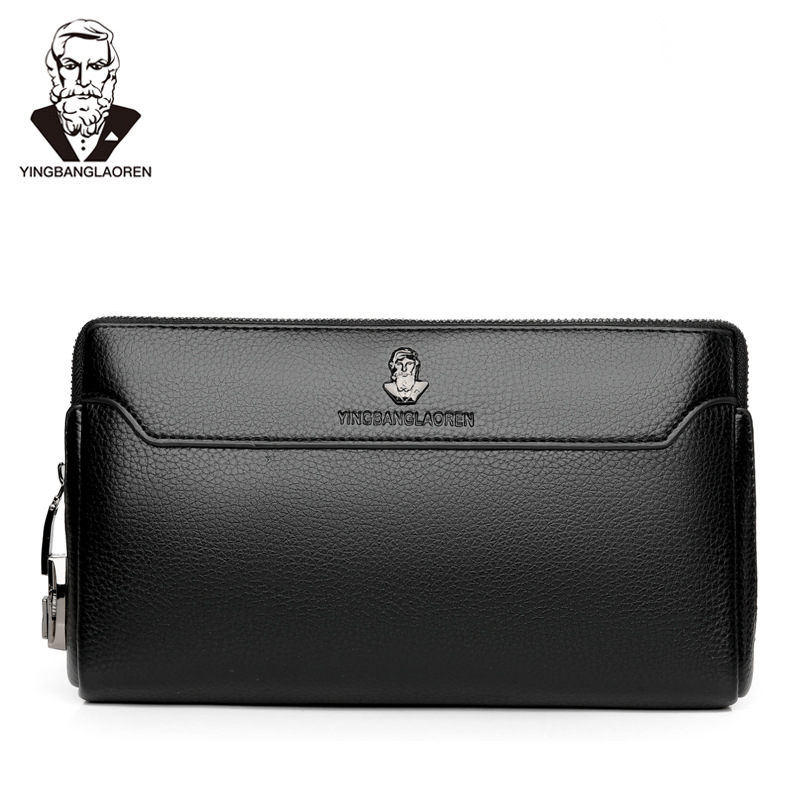 Anti-theft Long Wallet Male PU Leather Casual Handbag Men's Business Safety Lock Clutch Big Capacity  Coded Lock  Purse