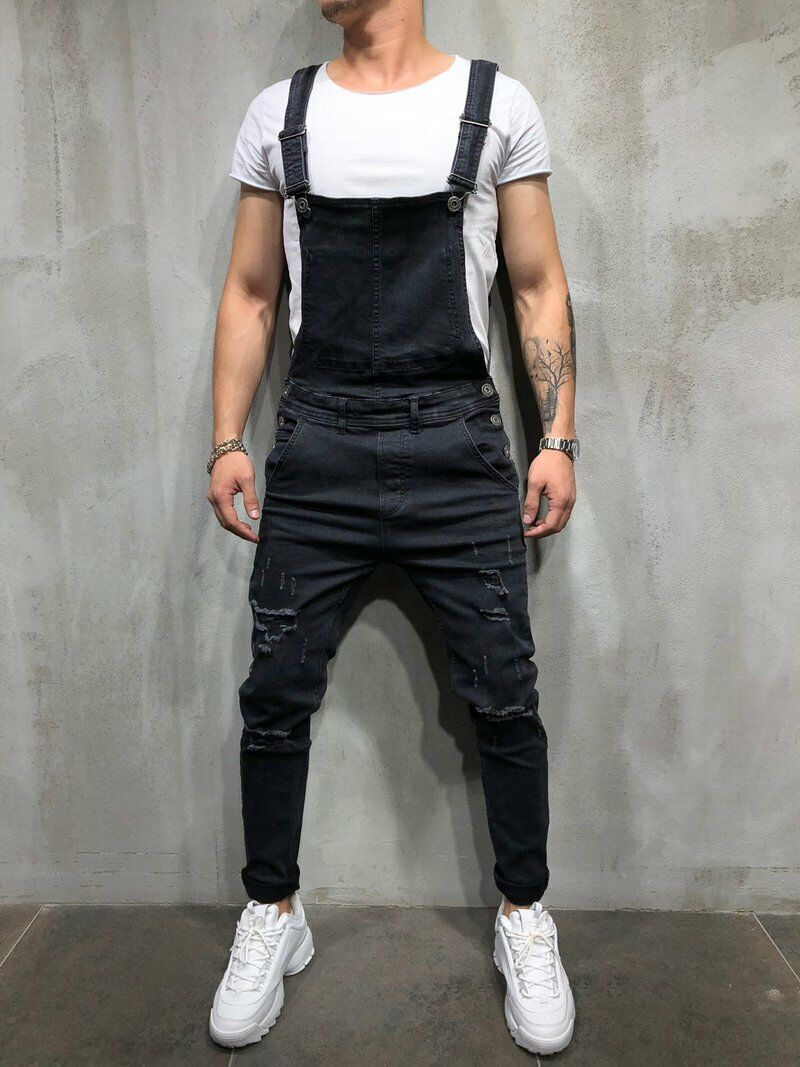 Men's Distressed Denim Carpenter Overalls Bib Jumpsuits Moto Biker Jean Pants Men's Suspender Trousers