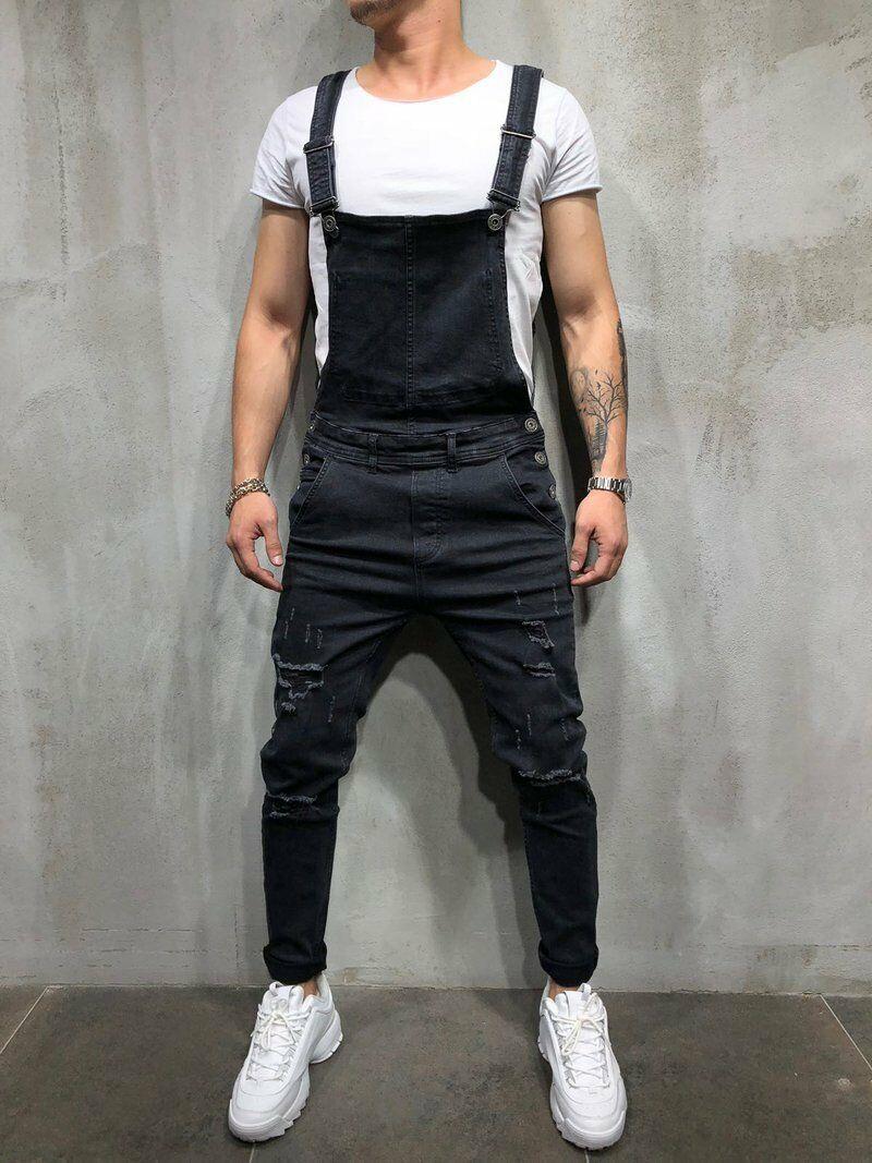 Men's Distressed Denim Carpenter Overalls Bib Jumpsuits Moto Biker Jean Pants Men's Suspender Trousers
