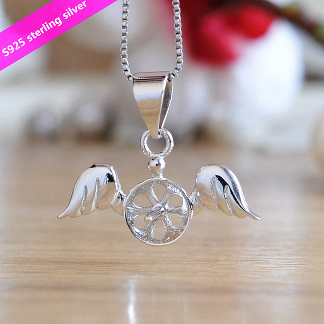 S925 sterling silver angel pendant holder fashion women diy pendant s925 sterling silver angel pendant holder fashion women diy pendant components natural pearl jewelry pendant findings aloadofball Image collections