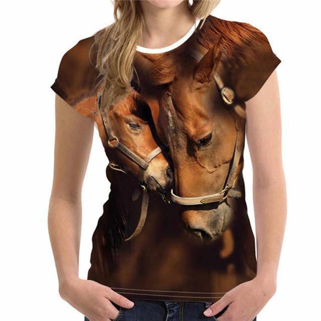 JAYCOSIN 소년을위한 3D 말 프린트 T 셔츠 2020 Comfort Teens 여름 재미 있은 동물 프린트 탑 반소매 T 셔츠 소년 소녀 착용 탑스