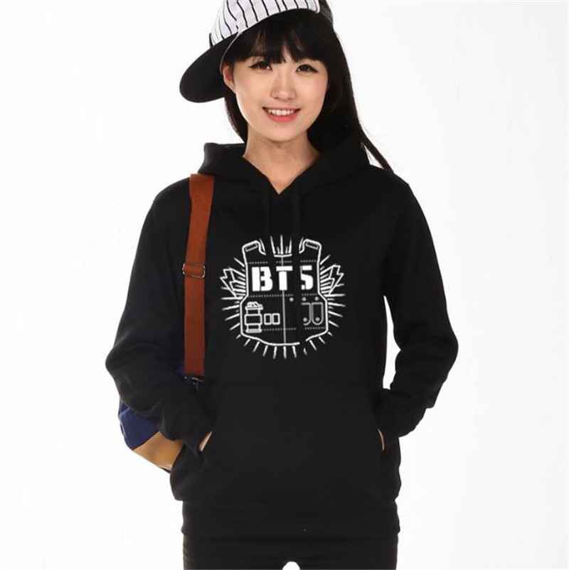 BTS Hoodie Women's Clothing Hoodies Sweatshirts Kpop BTS Bangtan Boys Black Grey Hoody Sweatshirts Women Hoodies