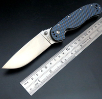 Custom RAT Folding Blade Knife D2 Steel Blade Carbon Fiber Handle Tactical Knife Survival Camping Knives