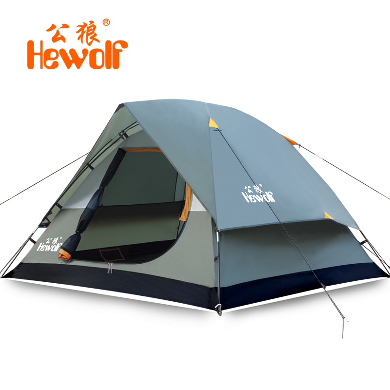 Hewolf Outdoor Tent For Hiking Beach Camping 3-4 People Double Layer Lightweight High Quality Waterproof Windproof  Tent 1130 high quality outdoor 2 person camping tent double layer aluminum rod ultralight tent with snow skirt oneroad windsnow 2 plus