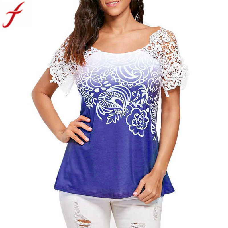 a901a3fecda korean women blouses 2018 Summer Casual Lace Stitching Floral Printed  O-Neck tunic shirts women
