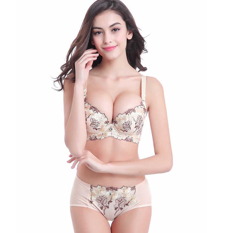Conjunto de ropa interior íntima Romántica Francesa con push up de talla grande sexy nueva marca de ECMLN con escote en V profundo de lujo