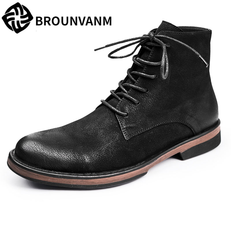 Martin British leather retro boots Winter leather Martin men boots, vintage short shoes mid barrel boots breathable sneaker 2017 new autumn winter british retro zipper leather shoes breathable sneaker fashion boots men casual shoes handmade