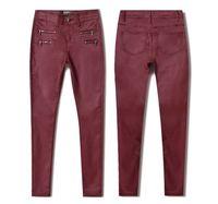 Women Red Pu Skinny Pencil Jeans Plus Size Full Length Pu Leather Double Zippers Pants Pantalon