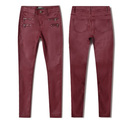 Women red pu skinny pencil jeans plus size full length Pu leather double zippers pants pantalon mujer sexy slim trousers 021808 sexy diamond sequined scratched pencil pants washed low waisted full length denim women jeans trousers womans plus size