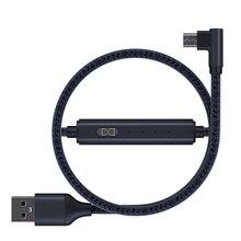 2 חבילה 2.4A 90 תואר מיקרו USB כבל עם טיימר מתג עבור Huawei סמסונג xiaomi טלפונים ניידים ניילון קלוע שחור אדום כחול