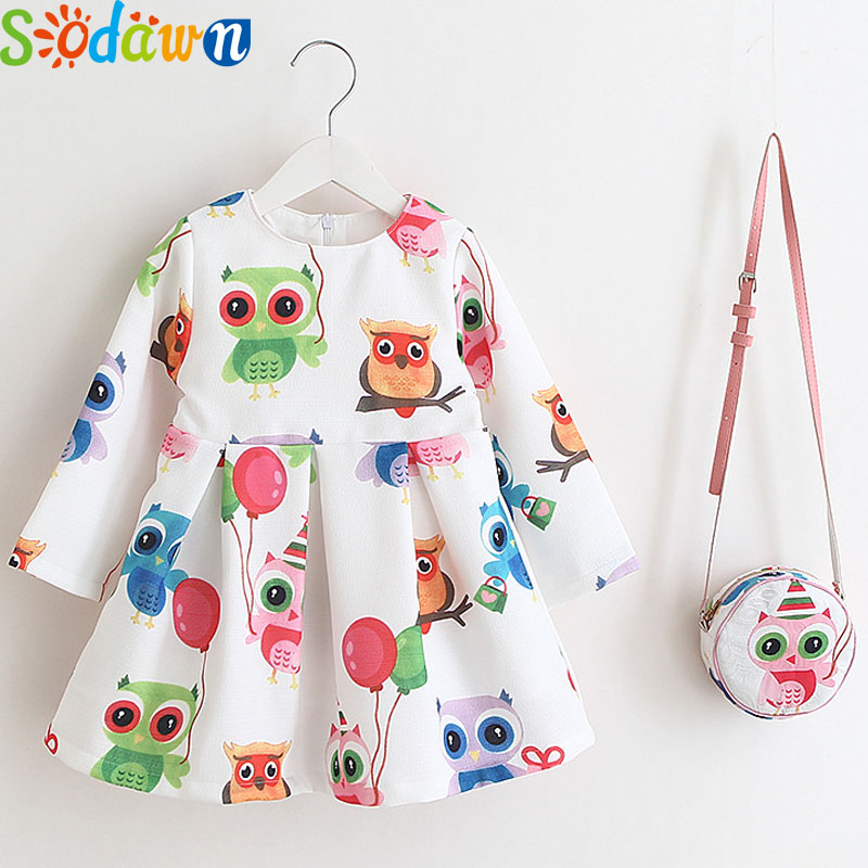 So dawn Autumn New Girls Clothes Europe United States Printed Cotton+Bag Girls Princess Dress Baby Girls Dress Children Clothing 2018 europe the united states new spring autumn girls plaid dress long sleeved simple lace dress 2 7 years old baby girl clothes