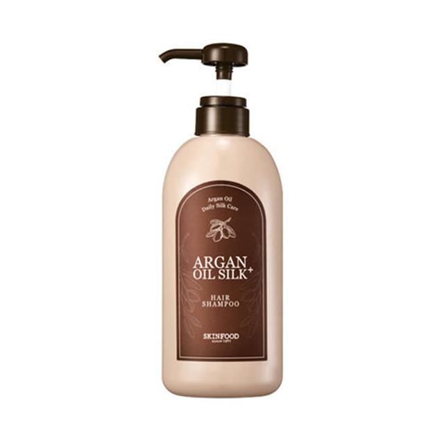 SKINFOOD Aceite de Argán Seda Más El Cabello Crecimiento Del Cabello Shampoo-500 ml Nutritiva Anti caspa Champú Cuidado Profesional Cosméticos de Corea