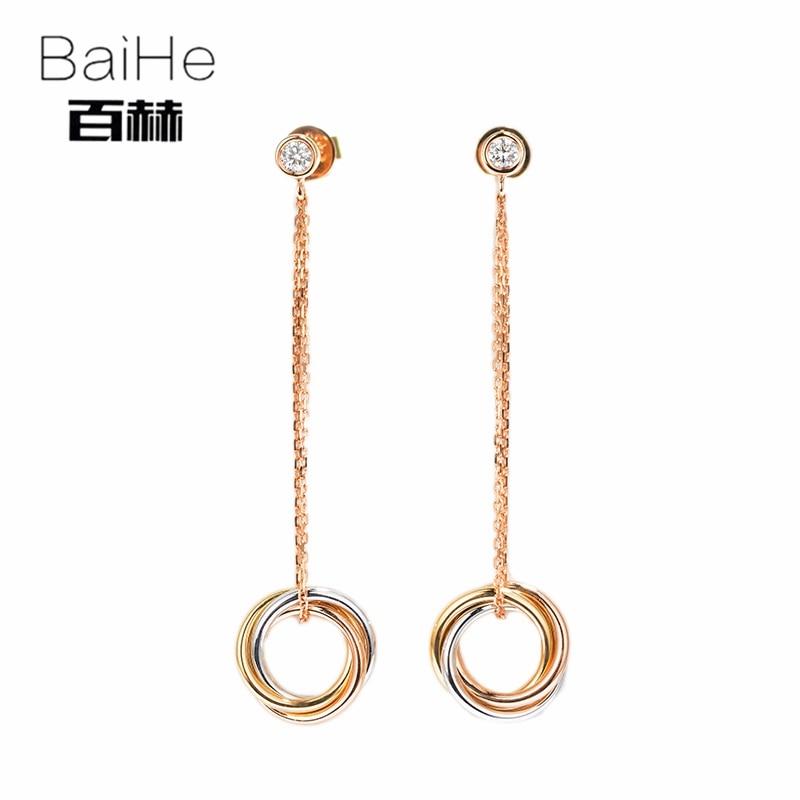 все цены на BAIHE Solid 14K Tricolor Gold 0.12CT H/SI 100% Genuine Natural Diamonds Wedding Trendy Fine Jewelry Elegant Unique Stud Earrings онлайн
