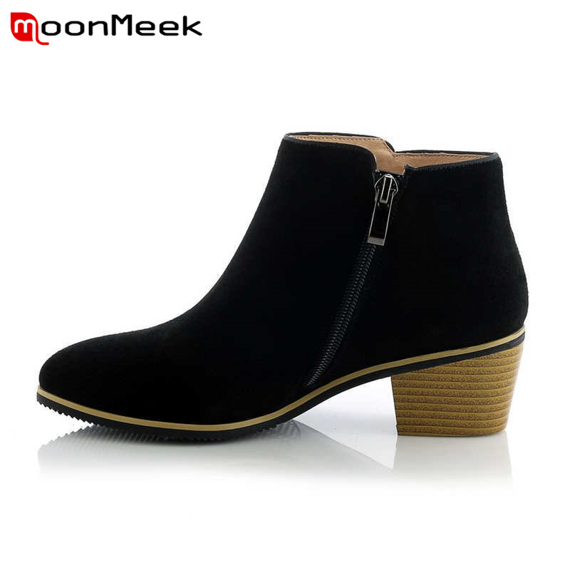 MoonMeek High quality cow suede leather boots square heel shoes fahion pointed toe autumn comfortable black ankle boots czrbt patchwork ankle boots women spring autumn cow suede leather pointed toe black high heel boots thick heel chelsea boots