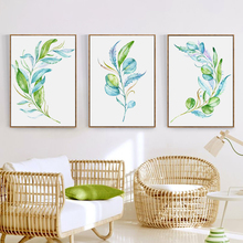 Bianche Wall Plant Foliage of Watercolor Simple Decor Canvas Painting Art Print Poster Picture Home Decoration
