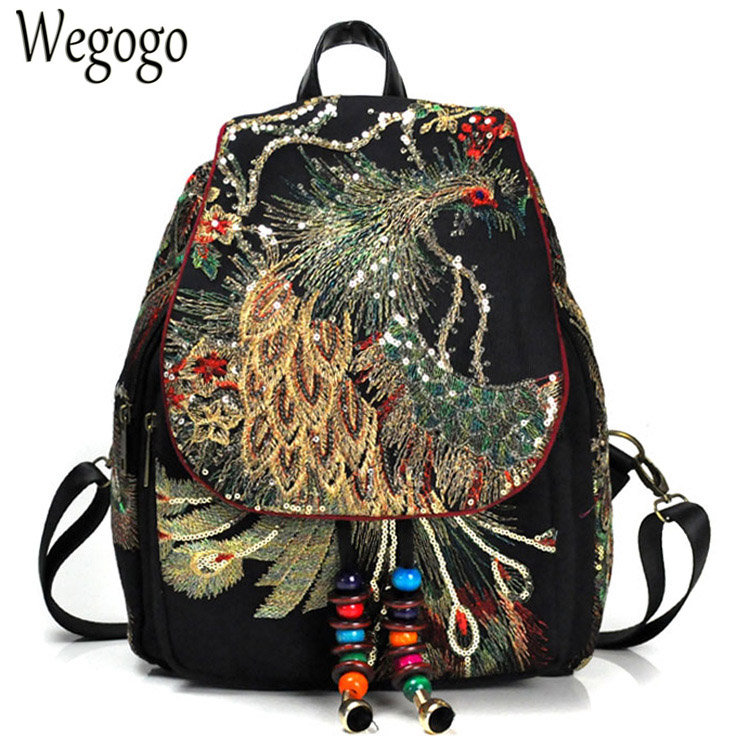 New Vintage Women Backpack Embroidery Peacock Sequin Rucksack National Boho Beads Travel School Shoulder Bag For Woman