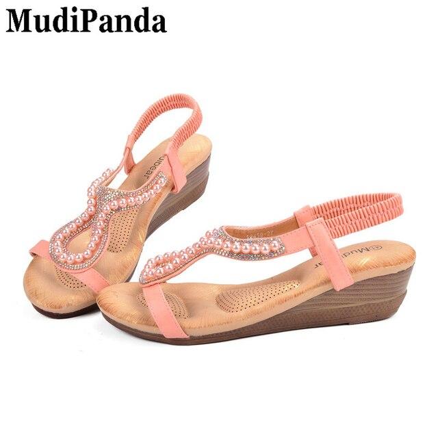 63ece077c8e MudiPanda Ladies Sandals Beach Wedge High Heels Beaded Pink Bling Soft Insole  Women Shoes PU Casual Slip On Size Plus 36-42