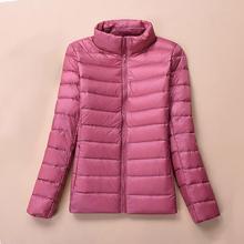 Winter Jacket Women Bomber Ultra Thin Light Ladies Slim Autumn Coat Stand Neck Short Pink Female Basic Duck Down Coats