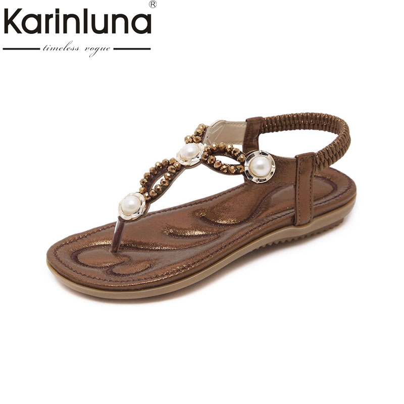 Karinluna 2018 High Quality Fashion Large Size 35-42 Pearl Flats Summer Sandals Women Shoes Elastic Band Lady Shoes Woman bohemia plus size 34 41 new fashion wedges sandals slip on elastic band casual platform shoes woman summer lady shoes shallow