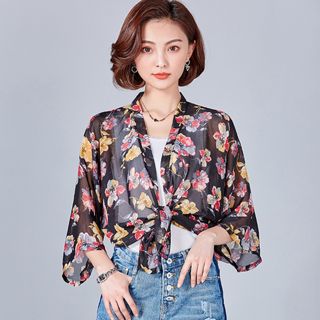 Summer Chiffon Kimono Cardigan Women Jacket Blouse Plus Size Pink Shirt  Boho Floral Beach Wear Cover up Loose Clothes f5d0b8d8e
