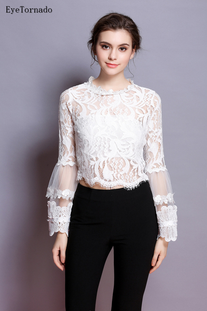 Women Spring Summer 2017 White Black Flower Embroidery Mesh Patchwork Short Sexy Flare Sleeve Party Work T shirt Top 9341