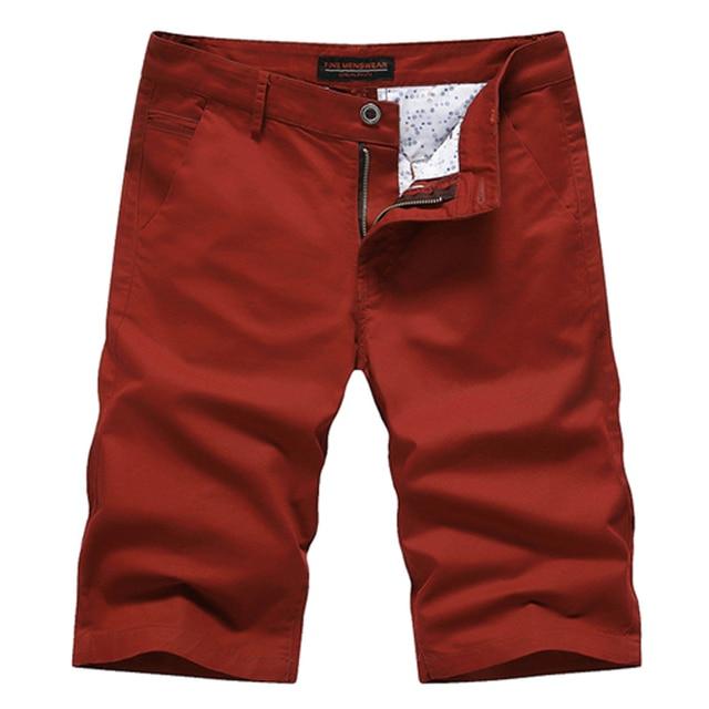 Casual Summer New Slim Cotton Bermudas Masculino Solid Color Breathable Mens Bermuda Shorts