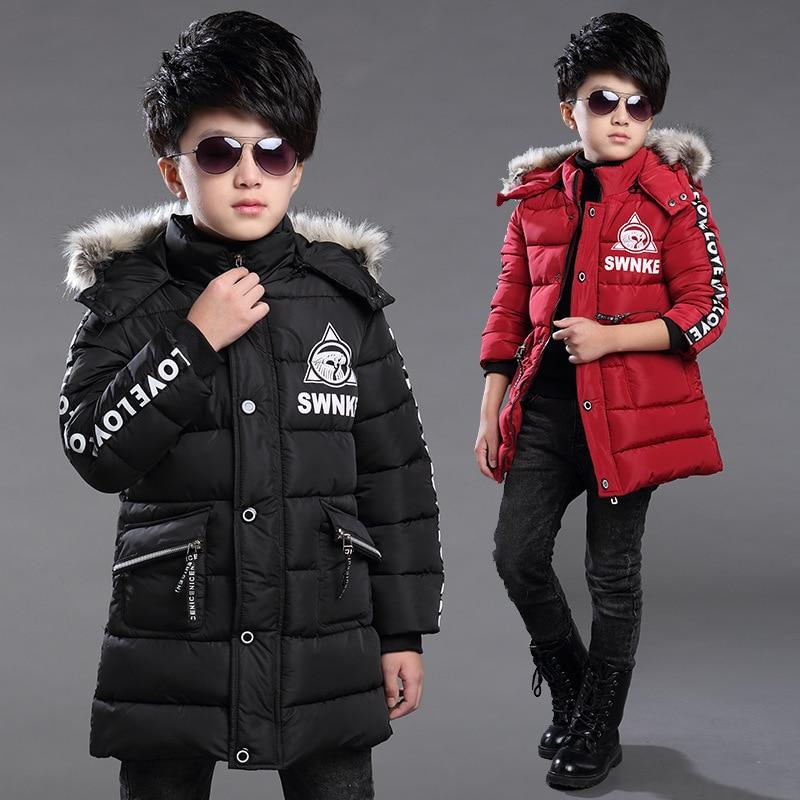 Boys Kış Ceketler Kalınlaşmak Pamuk Kapşonlu Palto Boys Çocuk Giyim Sıcak Boys Kabanlar Çocuk Parka Tops 3-14 yıl