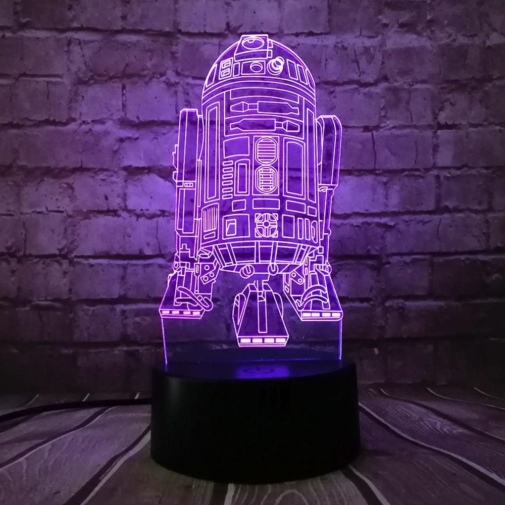 Yeni 3D Star Wars Savaş Gemisi R2D2 7 Renkler LED USB Değişim Masa - Gece Lambası - Fotoğraf 1