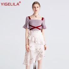 YIGELILA 最新の女性フリルドレスファッションスクエアネックフレアスリーブ膝丈チェック柄パッチワークプリントドレス 62769 2019