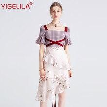 Yigelila 2019 Nieuwste Vrouwen Ruches Jurk Fashion Vierkante Hals Flare Mouw Knie Lengte Plaid Patchwork Print Jurk 62769