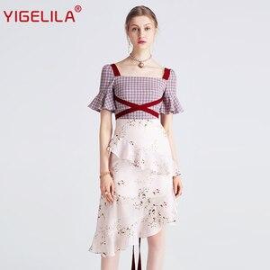Image 1 - Yigelila 2019 mais recente feminino babados vestido moda quadrado pescoço alargamento manga na altura do joelho xadrez retalhos vestido de impressão 62769