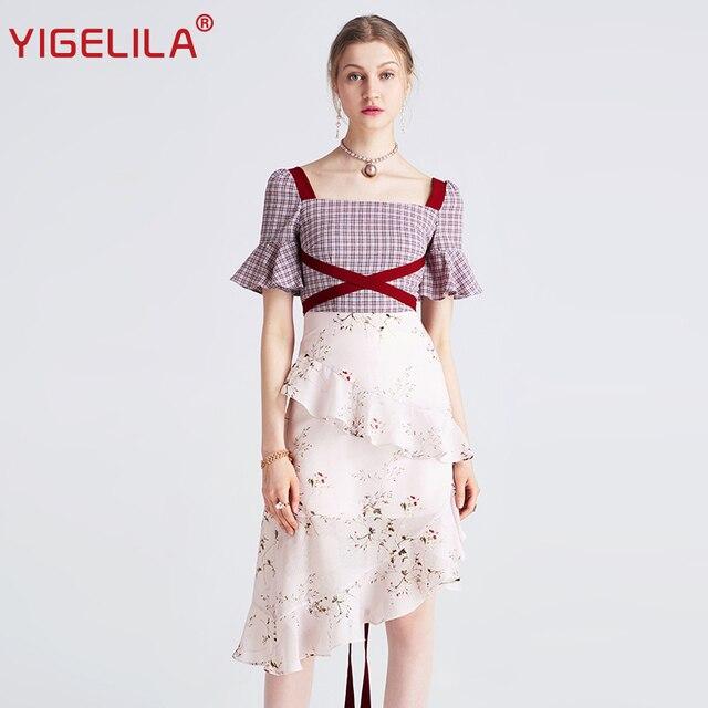 Yigelila 2019 mais recente feminino babados vestido moda quadrado pescoço alargamento manga na altura do joelho xadrez retalhos vestido de impressão 62769